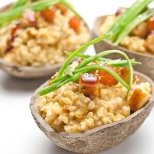 Arròs cremós de coco, carbassa i tofu